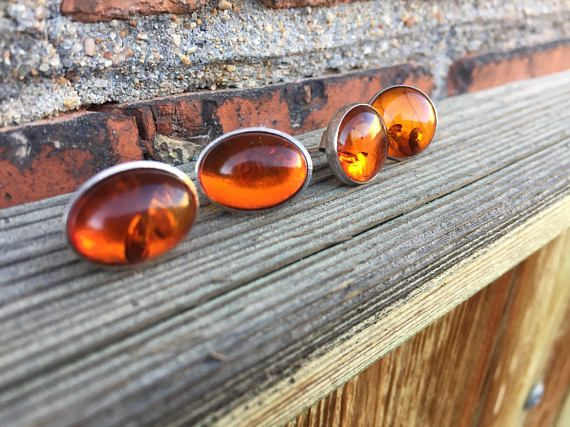 amber/earrings/round/oval/silver/studs