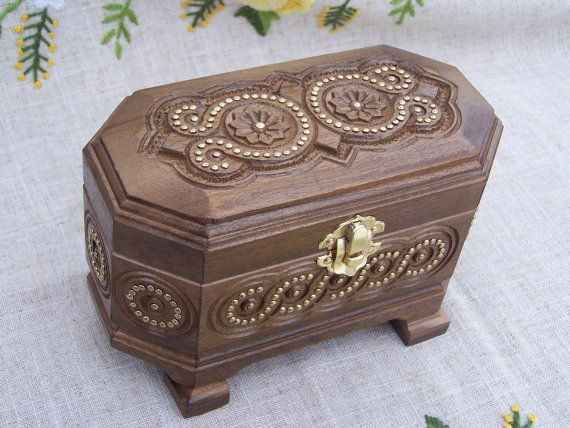 Jewelry box Ring box Wooden box Inlaid box Carved by HappyFlying, $30.00
