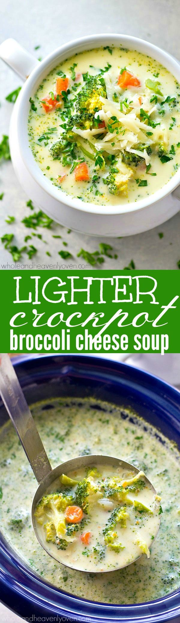 Love the broccoli cheese soup from Panera? This no-fuss crockpot version is unbelievably easy to throw together and lighter on the calories too! You'll be having bowl after bowl.