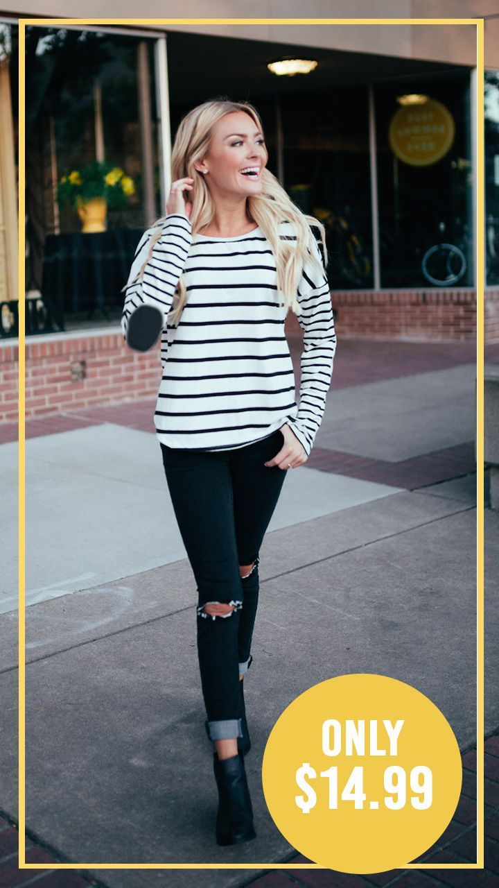 Best ideas to stay cozy amp look stylish in winter fashion amp trend - Stripes Are Still On Trend And You Ll Be Inspired To Wear This Top On Repeat Varying Stripe Widths Drop Shoulder Sleeves Elbow Patches Amp Up The Detail