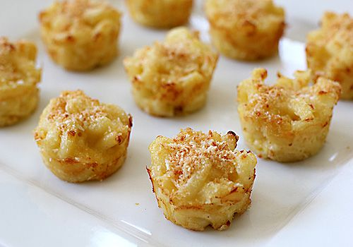 3 cheese mini mac-n-cheeses! basically just make mac & cheese ad then bake them in muffin tins for 10 minutes