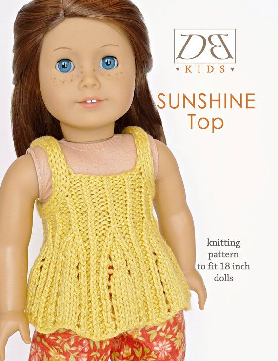 Doll clothes knitting pattern PDF for 18 inch American Girl type doll (AG dol...