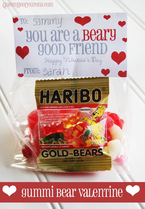 Easy Valentine Idea – You are a Beary Good Friend (Haribo Gummi Bears) Copyright © QueenBeeCoupons
