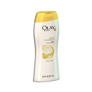 Olay Ultra Moisture Body Wash with Shea Butter, Packaging May Vary, 23.6-Ounce Bottles (Pack of 3) by Olay. $21.33. Olay Complete Body Wash nourishes the skin completely by cleansing, moisturizing, and rinsing clean. The soap-free formula provides gentle cleansing. The body wash is enriched with moisturizers such as shea butter, and Vitamins E, A and B3 penetrate deep within the skin to help condition even extra-dry skin for up to 24 hours. The clean-rinse formula keeps the skin ...