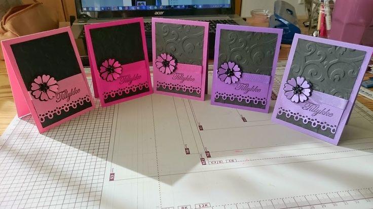 Små kort, sort, lilla, lyserød. Efter inspiration fra pinterest