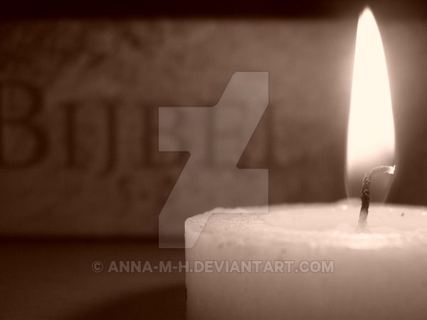 -Sepia- Candle and Holy Bible by Anna-M-H