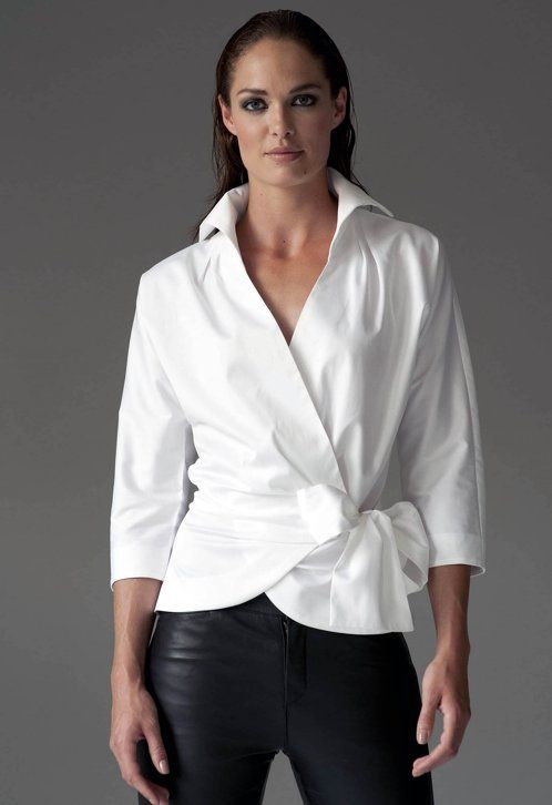 https://www.cityblis.com/5699/item/12541  ABIGAIL WHITE - $120 by The Shirt Company  With its shaped 3/4 sleeves and x-over front the Amelia shirt will effortlessly update your late summer wardrobe. Flattering on most figures and great on a bust.  The tie clinches in the waist and finishes with a generous bow.  Wrap Around Shirt with Bow Tie 96% Cotton/ 4% Elastane - Cotton Sate...