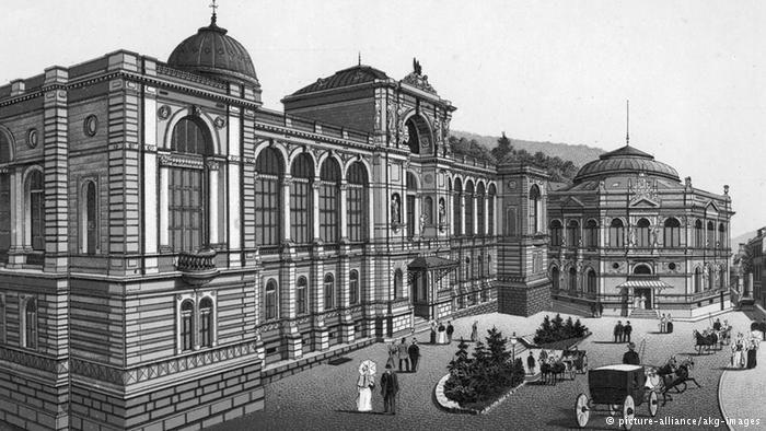 """Термы, Баден-Баден Баден-Баден (Baden-Baden) в особом представлении не нуждается. Этот курорт знаменит не только своими казино, но и термальными источниками (Thermen), а также прекрасными парками и роскошными отелями. На этом рисунке 1890 года изображена термальная купальня """"Фридрихсбад""""."""