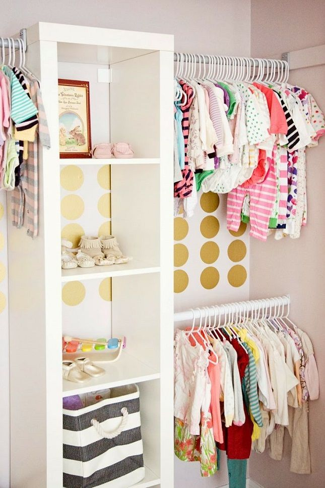 Love the IKEA bookcase for extra storage. kiddie closet