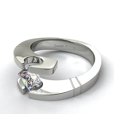 Tension Engagement Setting in White Gold - Ring price excludes center diamond.