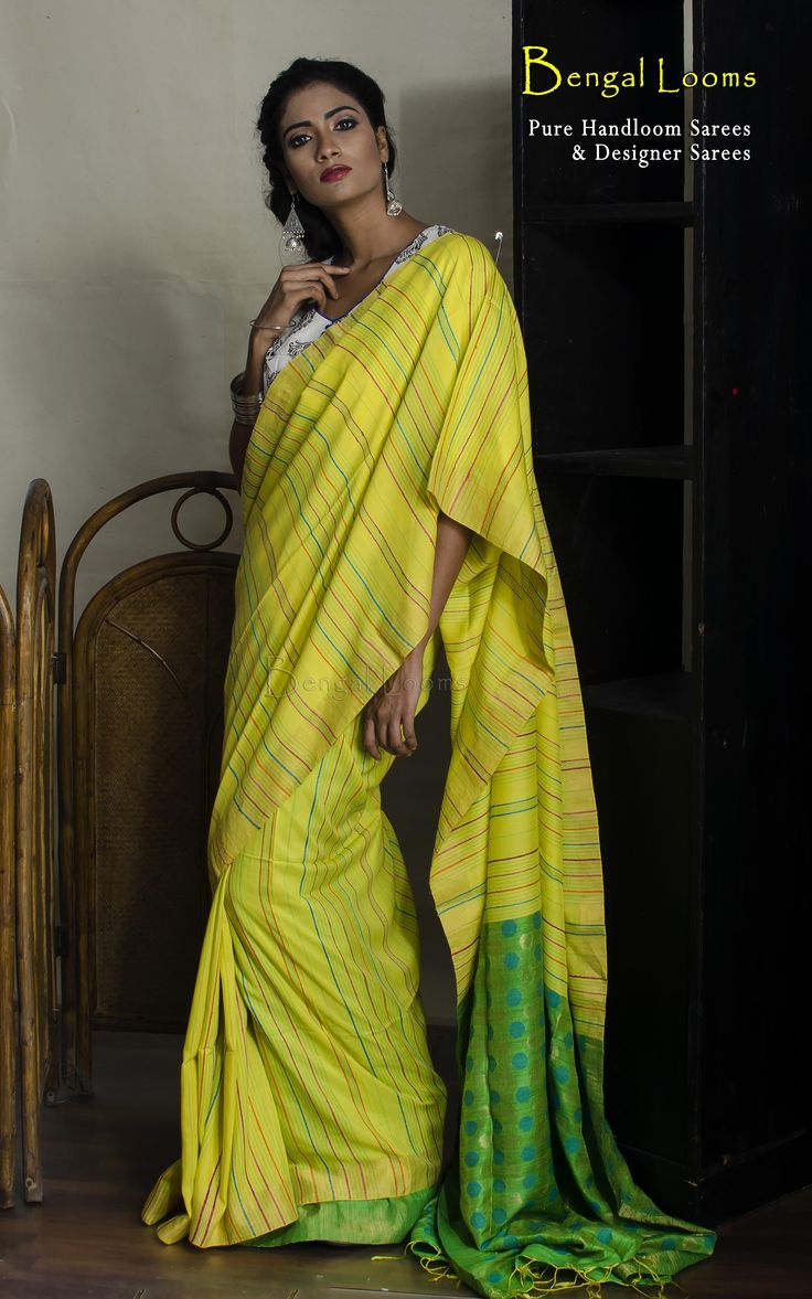 Lime yellow and parrot green khadi cotton cilk Saree with silk pallu and woven stitch work all over the body.