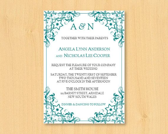 DIY wedding printable invitation template for MS by DIYWedTemplate