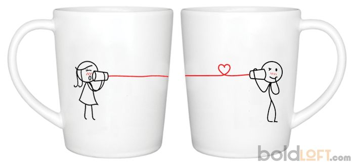 Unique His and Her Coffee Mugs, Say I Love You Too Couple Coffee Mugs-BoldLoft