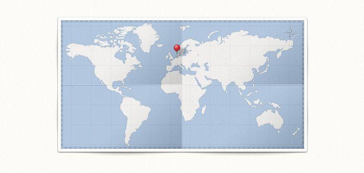 #Free World Map & Pin (#PSD)