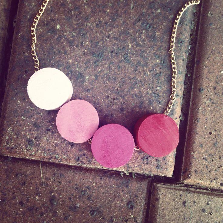 #wood #handmade #necklace #circles #pink #tones
