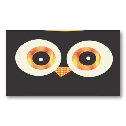 Cute Black Owl head Business Card Template #businesscards