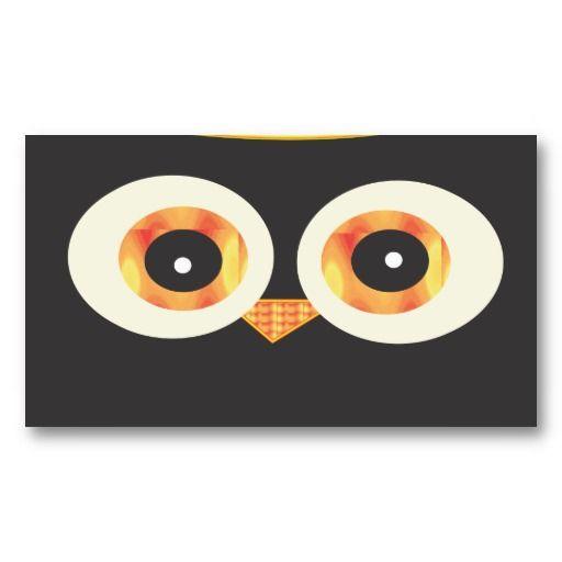 Cute Black Owl head Business Card Template #businesscards