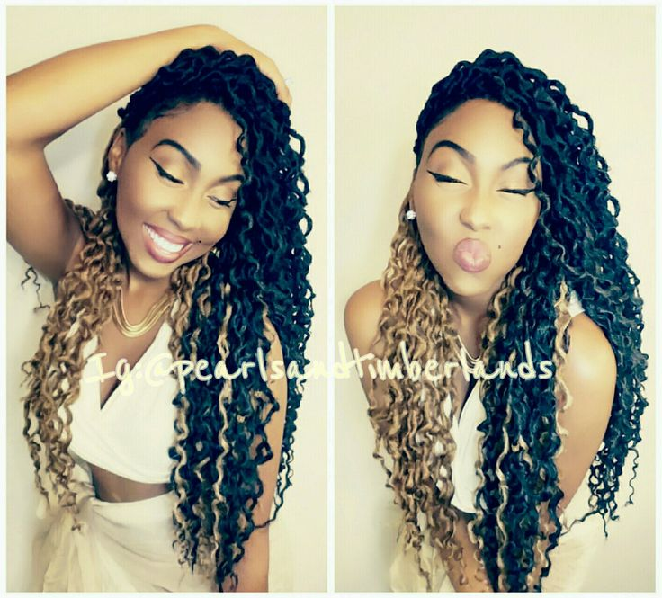 """Crochet Faux Locs by IG: @mymanenevatame. Follow me for more natural and protective hairstyles. Style Created with 5 packs of Freetress 2X Soft Faux Locs Wavy 20"""" (Color 1- Jet Black, Color 2 Brown and Color 30- dark blonde ) purchased on Amazon and Sam's Beauty. 3 hours total spent on styling. Hair was braided and dipped for deeper waves."""