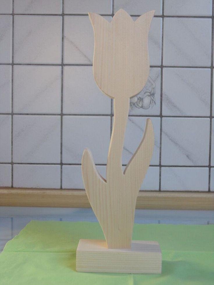 Tulpe Holz Handwerk Massiv Handarbeit 30 cm Natur  Deko Blume Frühling 2°