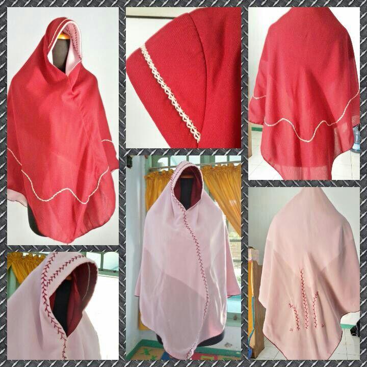 Jilbab segi empat yg disulap jd jilbab instan.kali ini bolak-balik merah dan pink dg sedikit sulaman sebagai pemanis