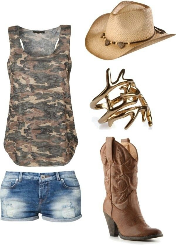 Country girl   That ring is pretty cool....The heel on the boots is way to high, but still a cute outfit