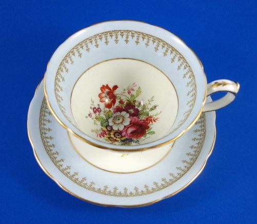 Light Blue with Floral Bouquet Center Hammersley Tea Cup and Saucer Set | eBay