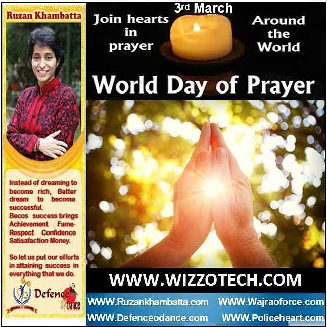 World Day of Prayer The World Day of Prayer is an international ecumenical Christian laywomens initiative. It is run under the motto Informed Prayer and Prayerful Action and is celebrated annually in over 170 countries on the first Friday in March. The movement aims to bring together women of various races cultures and traditions in a yearly common Day of Prayer as well as in closer fellowship understanding and action throughout the year. #youthicon #motivationalspeaker #inspirationalspeaker…