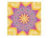 Disegno stampabile per decorazione stanza. Immagine di un mandala da stampare per meditazione e per yoga. Rosa e giallo. Per signora.