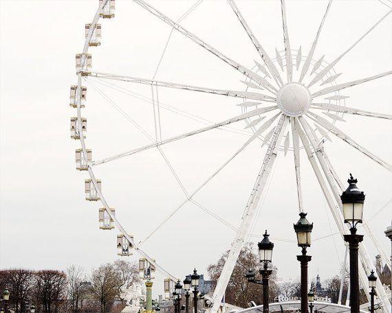 Paris Photography, Ferris Wheel, Paris Prints, Winter White Decor, Black and White, NR