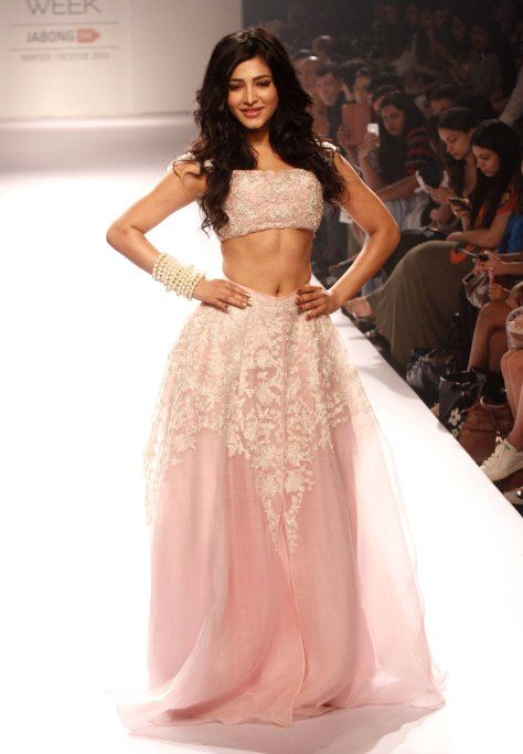Shruti Hassan for Shehla by Shehla Khan at Lakme Fashion Week 2014 #pink #lace #fluffy