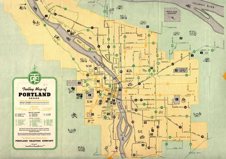 1943 Trolley Map of Portland published by the Portland Traction Company.