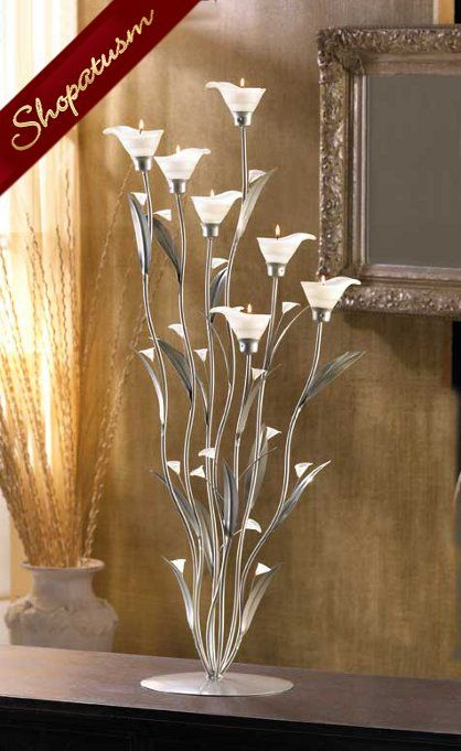 10 Large Floral Wedding Centerpiece Silver Calla Lily Candle Holder On Sale at Shopatusm Online