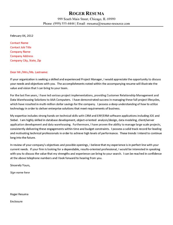 technology cover letter example - Project Manager Resume Cover Letter