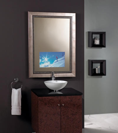 10 images about mirrored tv ideas on pinterest tvs for Tv in bathroom ideas