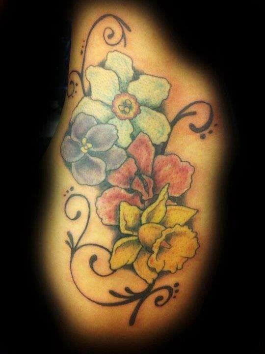 December Birth Flower Tattoo Black And White: Narcissus Flower Tattoos