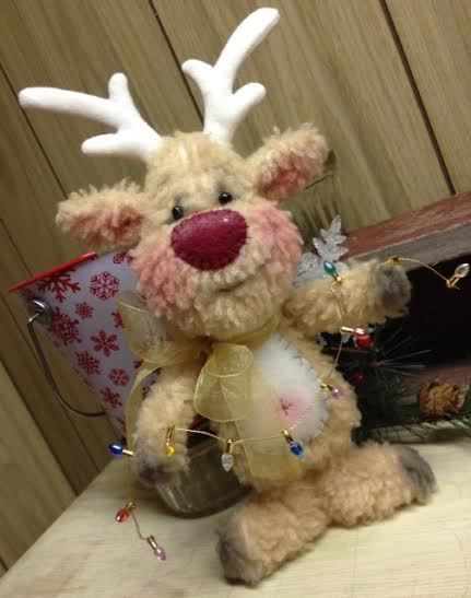 Primitive Raggedy Christmas Reindeer Snowman Doll Winter Snow Lights CUTE!! #Unbranded #Christmas