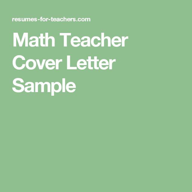 Math Teacher Cover Letter Sample