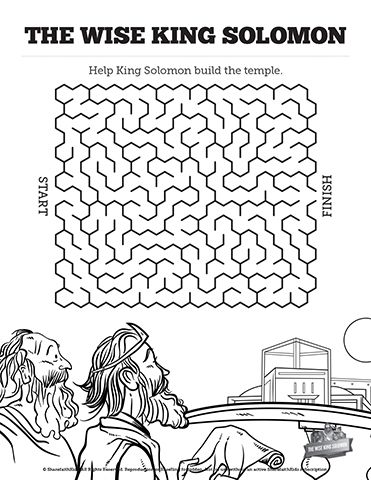 The Wisdom Of Solomon Bible Mazes: Your kids will get to imagine the building of Solomon's temple with this printable Bible activity. Can you lead Solomon through every twist and turn of this wisdom of Solomon Bible maze? With just enough challenge to make it fun, this beautifully designed Bible activity page will keep your kids engaged as you teach them about the wisdom of Solomon.