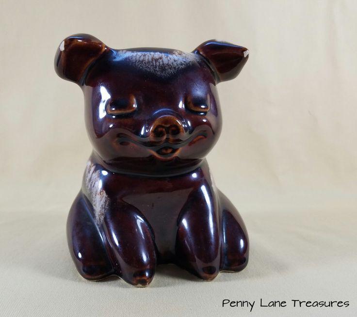 Vintage Hull Pig ~ Piggy Bank ~ Brown Drip Ceramics ~ 1960's ~ Sitting Pig ~ Coin Bank ~ Money Bank ~ Rustic Charm ~ Penny Lane Treasures by PennyLaneTreasures on Etsy https://www.etsy.com/listing/470951218/vintage-hull-pig-piggy-bank-brown-drip