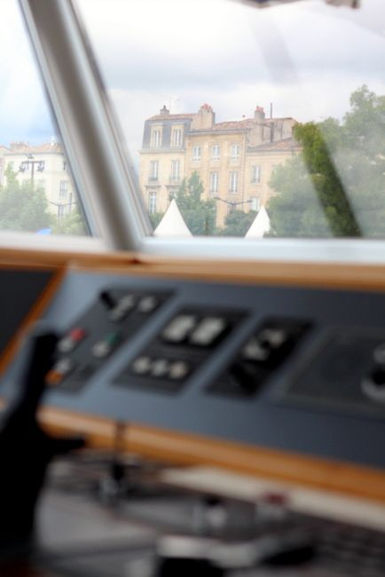 Bordeaux, France, along the quai. View from the wheelhouse aboard the Uniworld River Royale France river cruise.