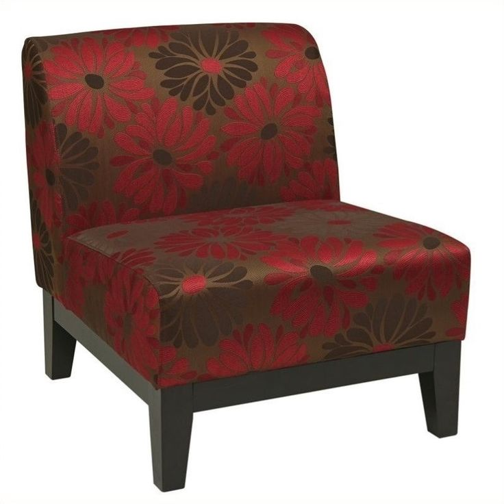 Lowest price online on all Slipper Chair in Red Floral Pattern - GLN51-G14