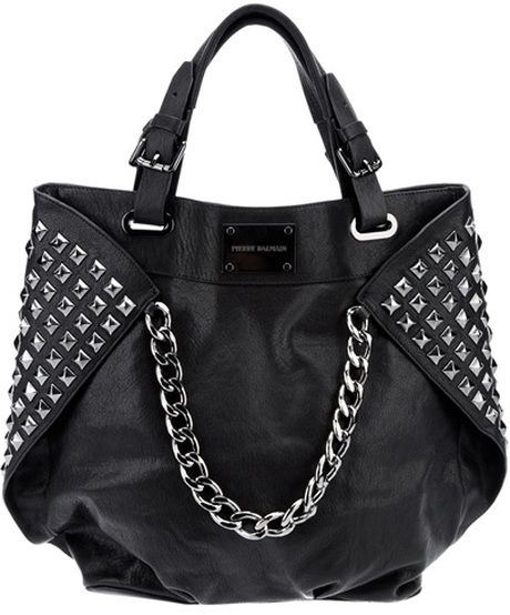 PIERRE BALMAIN  Black Studded Leather Shopper! Oh this bag! <3