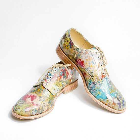 Impressionism flowered pattent leather oxford   by goodbyefolk