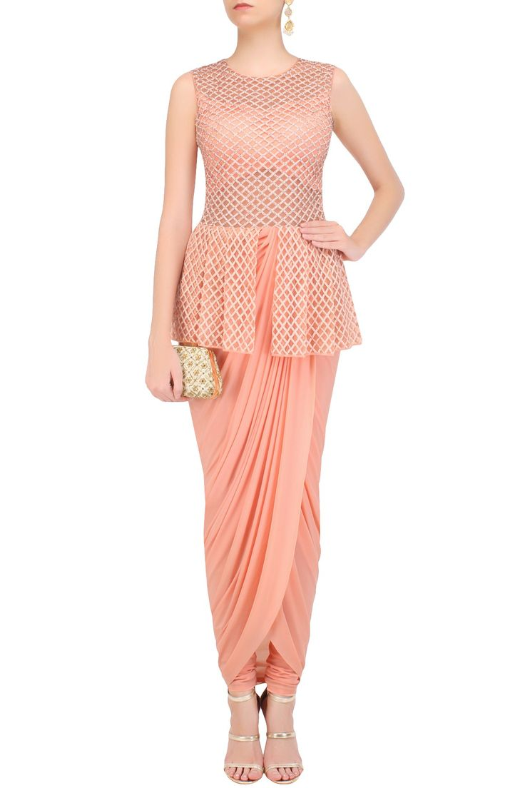 a peach peplum jumpsuit in cotton and soft lycra base appliqued with jaal pattern cutdana embroidery on the front bodice and back.
