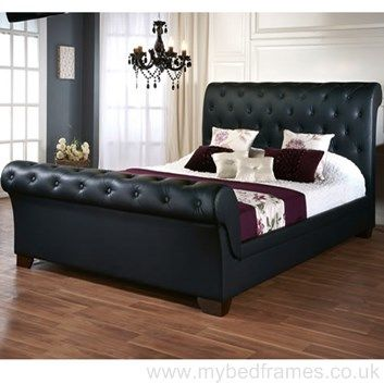 The Elizabeth faux leather bed frame features an attractive sleigh design  with rolling top head. 58 best Leather Bed Frames images on Pinterest   Bed frames