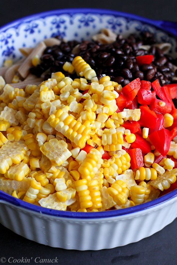 Southwestern Pasta Salad with Yogurt Salsa Dressing…A fantastic vegetarian side dish or entrée!  166 calories and 4 Weight Watchers PP | cookincanuck.com #healthy #recipe