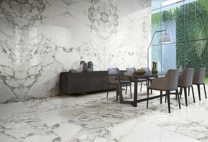Carrara marble effect porcelain large format tiles available in TileStyle Dublin