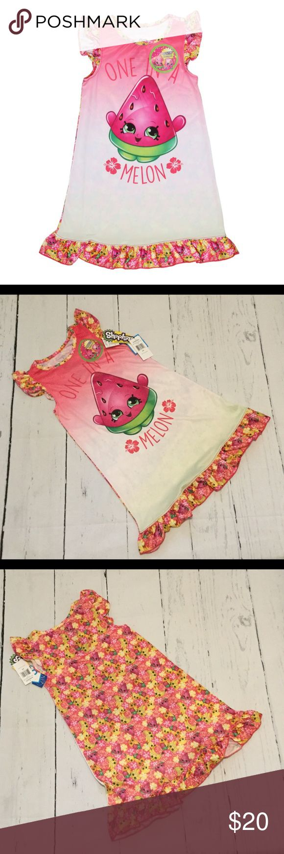"""Shopkins SCENTED🍉 Ruffle Pajama Gown These scented PJs give off a fun berry fresh scent that your little one will love. Seriously so cool. You literally scratch the pajamas and where you scratch smells just like watermelon! A Shopkins fan will flip out over this truly unique pajama ruffle gown.   Reads """"One in a Melon"""" Berry fragrance lasts 10 washes 100% polyester Color: pink By Shopkins Imported Intimo Pajamas Nightgowns"""