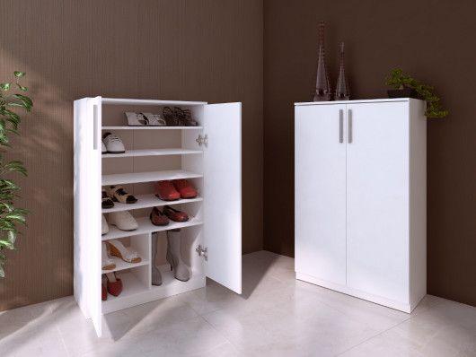 Meuble A Chaussures Mathias 2 Portes Blanc En 2020 Meuble Chaussure Meuble Rangement Chaussures Rangement Chaussures