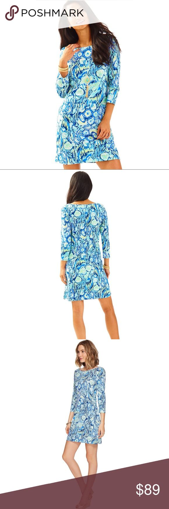 """NWOT Lilly Pulitzer Marlowe Sunset Swim Printed cotton dresses are always a good idea. But we love bright printed dresses even more. The Lilly Pulitzer Marlowe Dress in Indigo Sunset Swim is just that. You'll love this when jetting to Palm Beach for the weekend.  Printed 3/4 Length Sleeve T-Shirt Dress With Boatneck And Curved Side Slits At Hem. 36"""" From Top Of Shoulder To Hem. Length: Above The Knee. Pima Cotton Jersey - Printed (100% Pima Cotton). Machine Wash Cold. Separately. Delicate…"""
